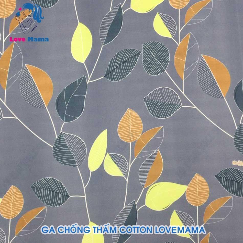 Ga chống thấm cao cấp màu vàng nâu họa tiết cây lá vải cotton
