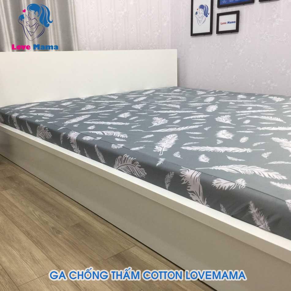 Ga lót giường chống thấm nước 1m6 vân hoa cỏ may màu xám xanh cao cấp
