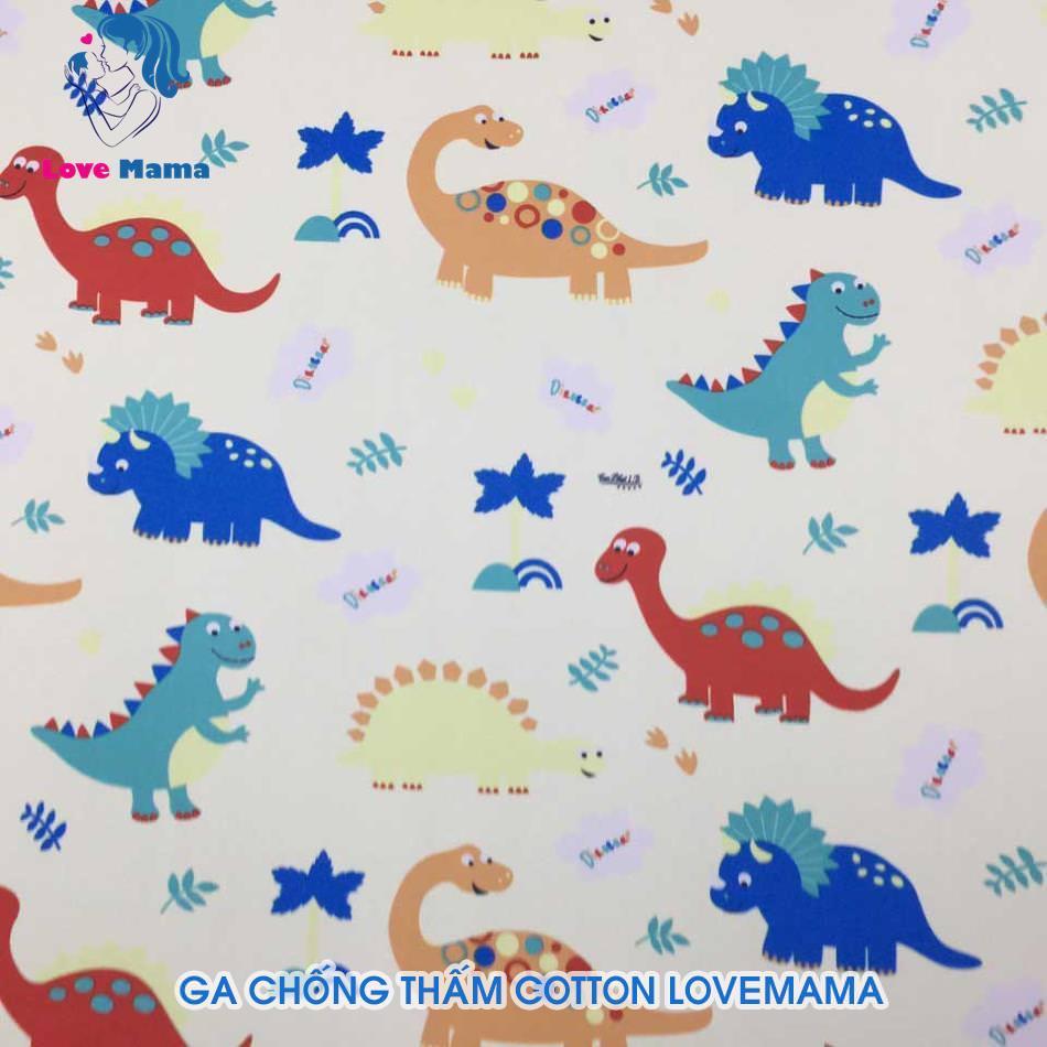 Ga chống thấm họa tiết khủng long và cây cối chữ Dinosaar vàng nhạt 1m6