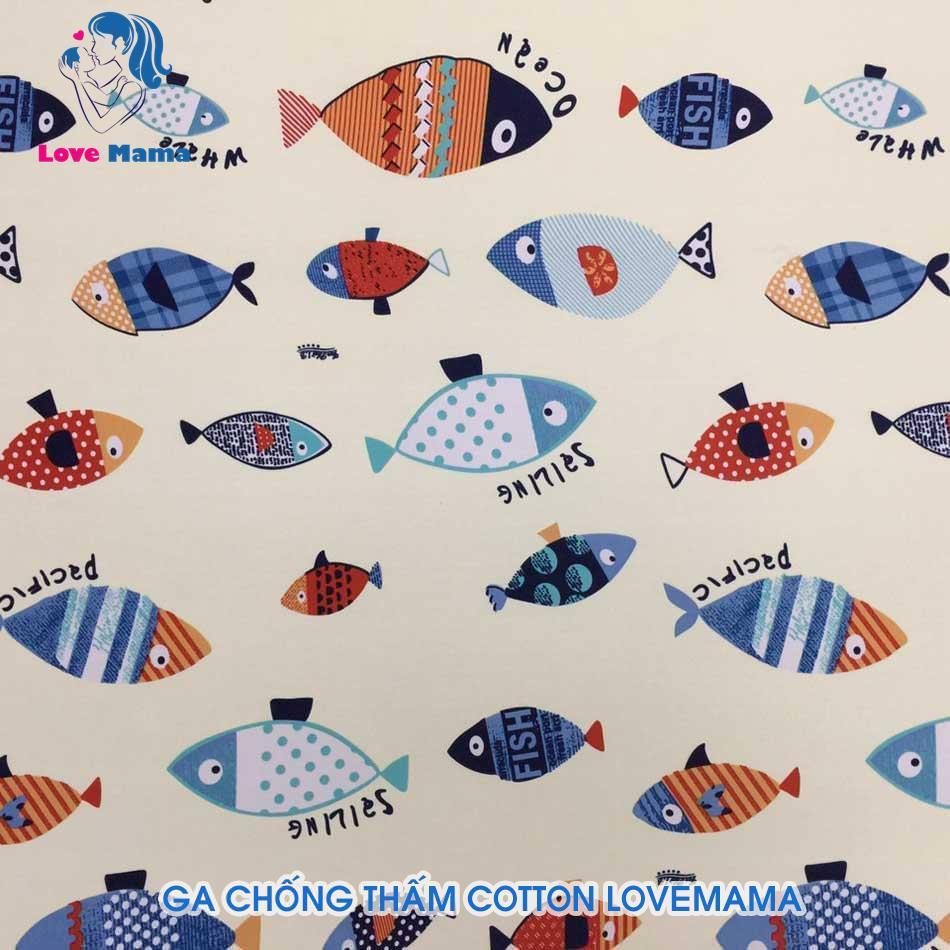 Ga chống thấm màu kem hình cá vải cotton loại 1m6