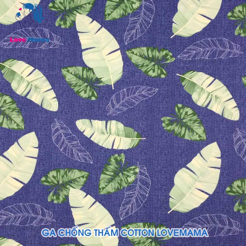 Ga chống thấm màu xanh hình lá cây bản to vải cotton ga 1m6