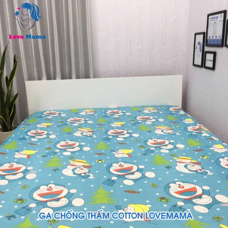 Ga chống thấm màu xanh vân Doremon cây thông vải cotton ga 1m6